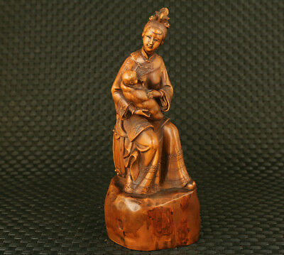 Fine chinese boxwood hand carved fatherly mother statue table home decoration
