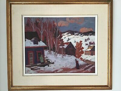 Large Canadian Quebec Oil Painting by Claude Langevin...Morning Walk