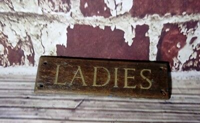 Antique Vintage Old Wooden Ladies Sign Plaque Toilets School Hospital Factory