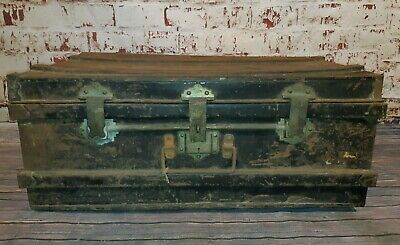Vintage Industrial Metal Military Banded Chest Trunk Blanket Box Coffee Table