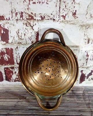 Antique Vintage Old Copper Sieve Colander  Kitchenalia Wall Hanging Pub Bar Dis