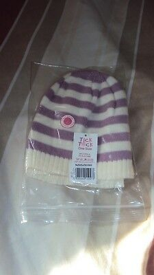 Tick Tock   Twin Pack   Knitted   Baby Girls Hats   Purple/Cream