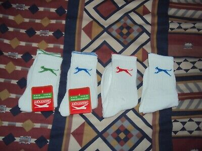 Slazenger  4 X Pairs  Childrens  Sport Socks  White/Purple  Uk C8 - C13