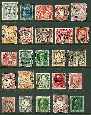Collection of 25x different Bavaria / Bayern stamps - CX195A