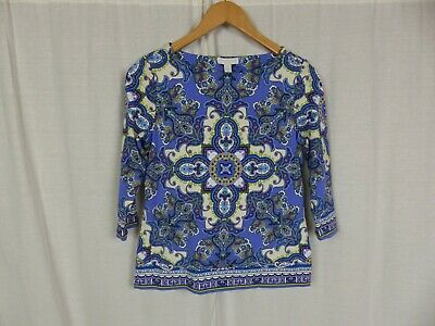 Charter Club Women's Printed Boat Neck 3/4 Sleeve Blouse Shirt Size Small PETITE