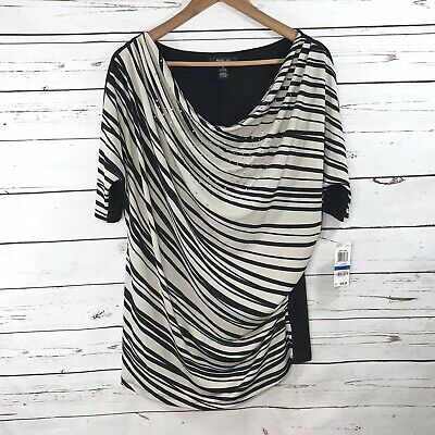 Style & Co Womens Blouse Size XL Black Cream Striped Studded Dolman Sleeves NEW