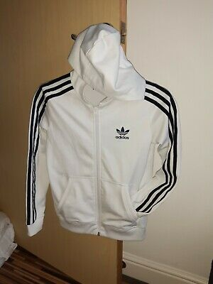 Adidas Jacket Boys Girls Unisex Age 9-10 Retro Old Skool Style White And Black