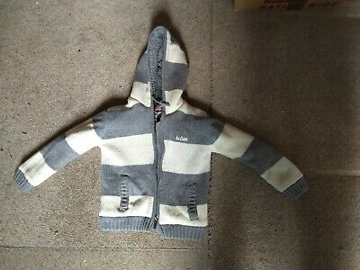 Boys Lee Cooper Fleecy Cardigan with hood Age 5-6 Years used grey/cream