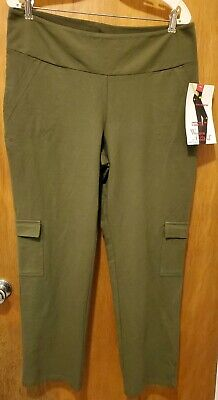 Women with Control Large Petite LP Tummy Control Cargo Pants Olive NWT A279288