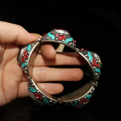 Collectable Precious Cloisonne Carving Flowers Inlay Beads Exquisite Bracele