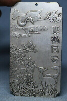 Decoration Handwork Miao Silver Carving Deer & Crane Auspicious Noble Pendant
