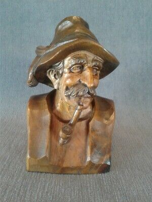 Hand Carved Figure of Man with Large Mustache and Pipe, Signed