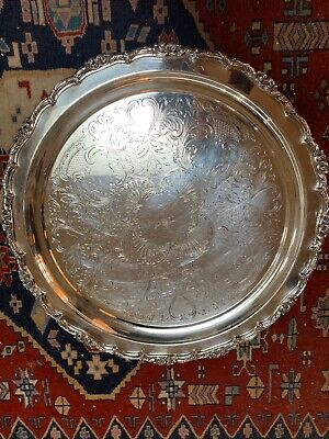"Antique Large Silver Plate Ornate Round Footed 16"" Serving Tray"