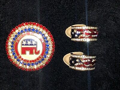 Proud to be a Republican Rhinestone Pin & Clip On Earrings