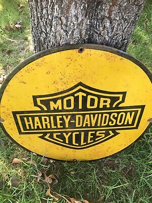 Vintage Harley Davidson Motorcycles Enamel Steel Genuine Sign. Oil Gas Cycles