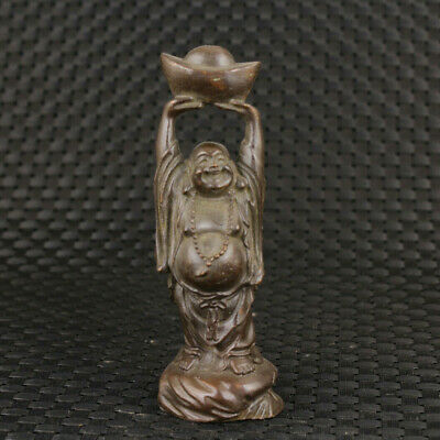 Lucky Blessing chinese old bronze hand carved money buddha statue figure