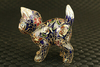 Rare Chinese old cloisonne Hand painted flower black cat statue decoration gift
