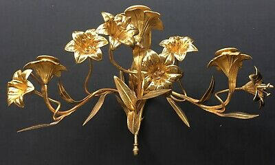 Antique French Bronze Ormolu Three Arm Candle Wall Sconce Candelabra Lilies Gilt