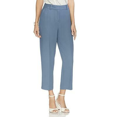Vince Camuto Womens Parisian Blue Crepe Straight Leg Cropped Pants 10 BHFO 1822