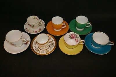 Coalport Grafton Aynsley Grindley Coffee Cups Demitasse X7 England Mde Lovely