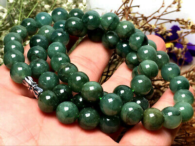 10mm 100% Natural A Oil Green Emerald Jade Beads ~Necklace Have certificate0464