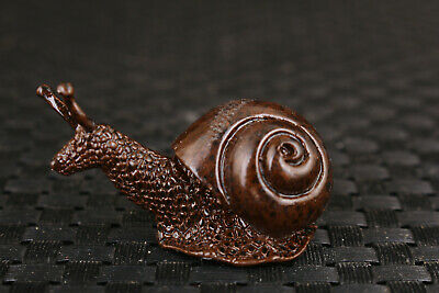 rare Chinese bronze hand casting snail statue collectable noble decoration