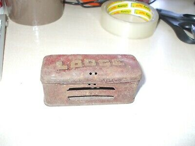 Antique early 20th century Lodge Sparking Plug tin box advertising spark