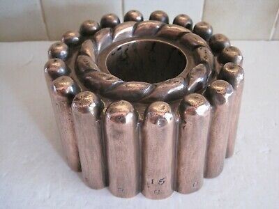ANTIQUE VICTORIAN COPPER JELLY MOULD WITH PIPE - RING & BRYMER, CORNHILL No.15