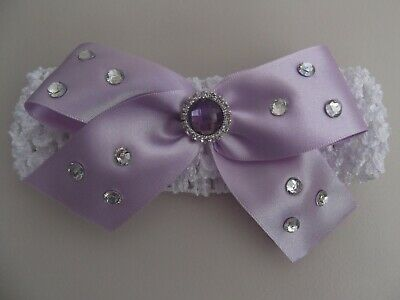 Baby / Girls Crochet Romany/ Spanish Bling Headband with lilac bow and gem