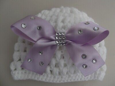 Hand crochet Romany bling white baby girls beanie with large lilac bow 0-3mths.