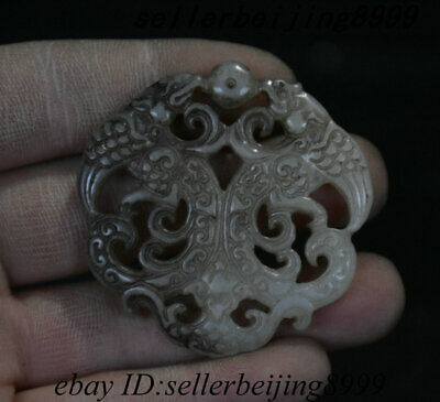 Collect Old Chinese Dynasty Palace Jade Stone Double Animal Beast Pendant Statue