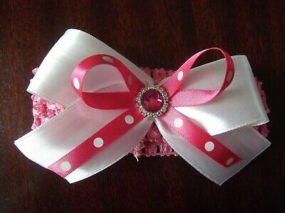 Baby / Girls Crochet Romany /Spanish Bling double bow Headband Hot pink + white.