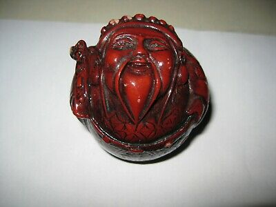 Vintage Red Oriental Resin Old Wise Man Prophet Figurine Roly Poly Paperweight