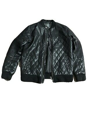 Girls River Island Black bomber Jacket age 10yrs Leather Look