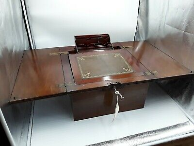 Large Victorian Mahogany Self Rising  Campaign Writing Box.  Exellent Quality.
