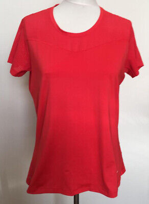 Womens Nike Pro Red Running Short Sleeve Sports Top Size Extra Large