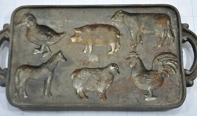 Antique UNMARKED Cast Iron Farm Animal Corn Bread Pan horse pig cow duck sheep