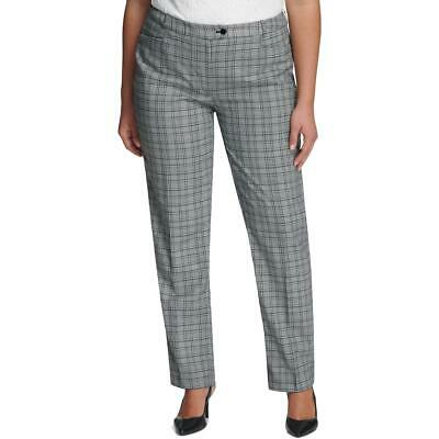 Calvin Klein Womens Black Plaid Straight Leg Dress Pants Trousers 14W BHFO 9671