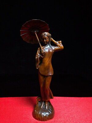 Collectable Ancient Boxwood Carving Braid Girl Held Umbrella Exquisite Statue