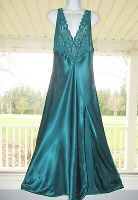 Green Victoria Secret Polyester Satin Slippery Long Nightgown LG gold Label