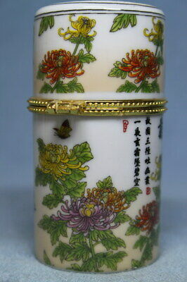 Collectable Handwork Porcelain Painting Chrysanthemum Beautiful Toothpick Box