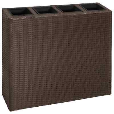 vidaXL Garden Planter with 4 Pots Poly Rattan Brown Lawn Flower Box Raised Bed
