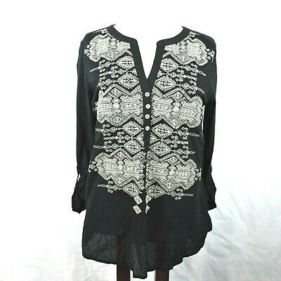 Style & Co. Womens Top Size M Embroidered Boho Tunic Black Prism Glance Shirt