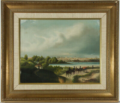 H Harrison  - Early 20th Century Oil, Continental Lake Scene with Carriages