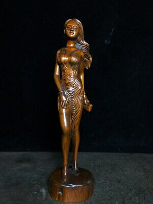 Exquisite Handwork Boxwood Carving Women Take Wallet Auspicious Beautiful Statue