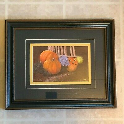 HALLOWEEN PRINT: Jack O' Lantern Matted & Framed Signed Print by Don Lay TA !