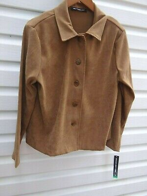 NWT Briggs New York Brown Brushed Polyester Brown Button Down Blouse  Petite L