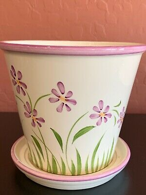 """NEW ENGLAND POTTERY vintage Ceramic 5 1/2"""" Flower Pot 🌸 Made in Portugal SPRING"""