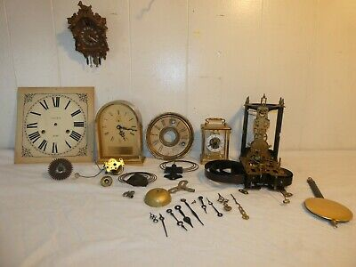 Box Lot of Vintage Clock Parts Movements Mini Cuckoo Clock Clocks Hands Dial etc