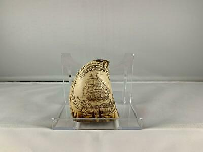 Vintage Replica Of Scrimshaw Whale Tooth, Ship Mercury, Mid To Late 20th Century